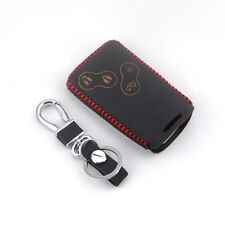 Red Thread Leather Remote Key Holder Case Cover 4BTN For RENAULT Laguna Koleos