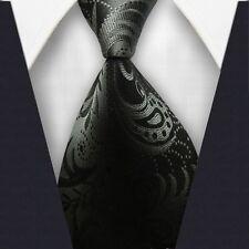 New Men's Floral 100% Silk JACQUARD WOVEN Suits Tie Necktie Black Color F226