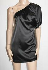 Dotti Designer Black Silky One Shoulder Party Dress Size 6-XXS BNWT #SF88