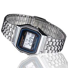 Vintage Womens Mens Stainless Steel LCD Digital Sports Stopwatch Watch Silver SS