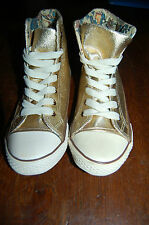 BASKET Montante Doré SNEAKERS Toile imitation Cuir OR Bottillons liberty GOLD 38