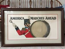 """Norman Rockwell Signed Artist Proof 'America Marches Ahead' Framed 38"""" X 23"""""""