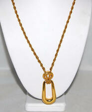 Crown Trifari Gold Rectangular & Oval Loop Necklace