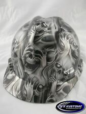New Custom MSA V-Gard (Short Brim) Hard Hat W/FasTrac Silver Three Evil Pattern