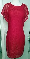 BELLE BADGLEY MISCHKA RED DRESS SPARKLE FLORAL LACE SZ.10
