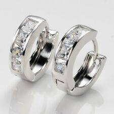 Luxury 18k White Gold Filled Charm Lady Earrings Hoop Wedding Jewelry Vogue Gift