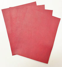 LEATHER PIECES OF COWHIDE 4 @ 20CM X 15CM ANTIQUE-RED 2mm THICK PULL_UP