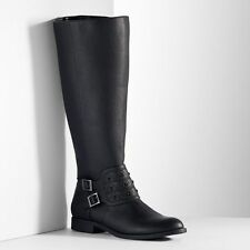 Women SIMPLY VERA WANG Wide Calf Tall Riding Boots Knee High BLACK 8.5 Flat Heel