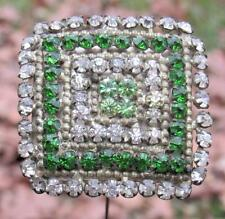 Very Large Antique VIctorian Green & Crystal Square Hat Pin