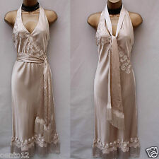 KAREN MILLEN GATSBY DOWNTON ABBEY NOIR SILK TASSEL VINTAGE WEDDING D00RESS 12 UK