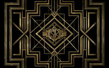 7x5FT Dark Black Great Gatsby Custom Your Own Initials Photo Background Backdrop