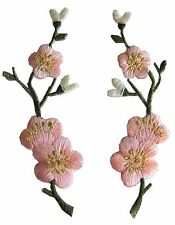 #3959P Lot 2Pcs Pink Quince,Sakura Flower Embroidery Iron On Applique Patch