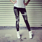 Punk Style Gothic GYM Sports Leggings Fitness Gun Printed Black Soft Cotton Pant