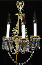 pair Antique bird head Bronze Brass French Crystal Sconces Chandelier Vintage