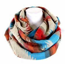 B55 Thick Aztec Print Turquoise Orange Red Beige Soft Blanket Infinity Scarf