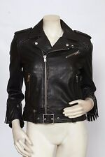 IRO Black Leather Fringed ZERIGNOLA Lamb Motorcycle Jacket 40 US 8 M NWT $1,340
