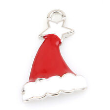 10pcs Lot Alloy Pendant Red&White Enamel Christmas Hat Charms Jewelry Findings J