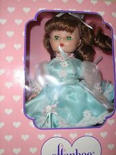 Cute Effanbee Doll. 8 inches tall, Sleepy Eyes,  Origional Box & Doll Stand