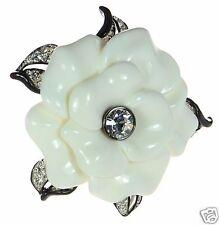 Kenneth Jay Lane White Enamel Flower Pin Brooch
