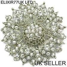 "2.4"" LARGE SILVER FLOWER DIAMANTE CRYSTAL PIN BROOCH WEDDING ART VINTAGE BROACH"