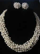 Vintage Demi ~ Signed Hong Kong ~ Necklace/Choker & Earring Set ~ 1950s