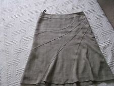"Evie      size 14           LINED  LINEN LOOK  PANELLED SKIRT  - ""STONE"""