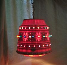 """Vintage Lawnware Outdoor Hanging Light Patio RV Large Tiki Birds Beads 90"""" Chain"""