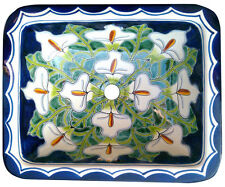 SQ#130) MEXICAN RECTANGLE BATHROOM SINK TALAVERA HAND MADE CERAMIC BASIN