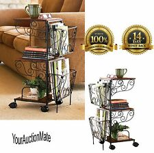 Side Tables Magazine Rack Rolling Storage Sofa End Table Living Room Organizer