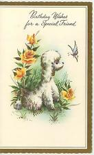 VINTAGE YELLOW ROSE GARDEN FLOWERS WHITE POODLE SPECIAL FRIEND CARD ART PRINT