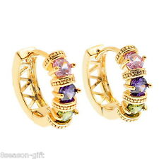 HX 1Pair 18k Gold Plated Stud Earrings with Muliticolor Zircon 22x19mm K84995
