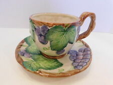 Retired Fitz And Floyd Ironstone Grape Arbor Coffee Cup & Sauce Set 1988 Mint!