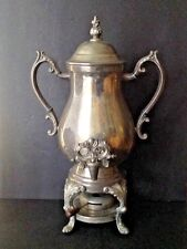 "Vtg F.B Rogers Silver Co. 19""Tall  Silverplate Teapot Kettle Footed Stand Burner"