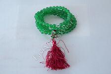 Tibetan Green Crystal 108 Bead Long Necklace Cum Bracelet Lucky Feng Shui Amulet