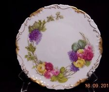 VINTAGE T&V LIMOGES FRANCE HP PLATE~PINK,YELLOW ROSES,PURPLE HYDRANGEA