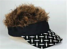 FLAIR HAIR HATS WITH HAIR BLACK PLATE VISOR BROWN HAIR QUALITY SURF PARTY RAVE