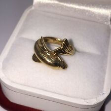 Vintage 14k Yellow Gold Dolphin Winter Hope  Tale Artisan Pinky Girls Ring 3.5