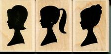 Girl Profile Silhouettes LP195 ~ Set of 3 Hero Arts RUBBER STAMP ~ Free Shipping