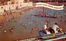 Peony Park, 78th & Dodge, Omaha, NE Postcard. Swimming. Sky Rail