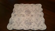 Paoletti Pillow Cover Blue White Floral With Zipper 45cm Square Scalloped Cotton