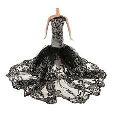 Embroidery Black Lace Wedding Gown Dress Outfit For Silkstone Barbie Dolls