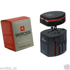 Skross Swiss World Travel Adapter 2 Converter Plug & USB Charger NEW