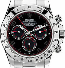 Rolex Daytona Stainless Steel 116520 Custom Arabic Racing Dial with Red Hands!