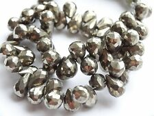 "HAND FACETED PYRITE BRIOLETTES, approx 5x8mm, 8"", 60+ beads"