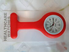 NEW FIRST HAND HEALTHCARE NURSE THERAPIST ROUND RED SILICONE WATCH