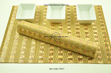 4 Luxury Placemats Table Mats, Handmade Chunky Bamboo Wood, Gold-Pink, CP011