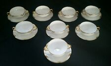8 Haviland Limoges Silver Anniversary Pattern Flat Bouillon Cups and Saucers