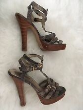 New Look Strappy Heels Size 5 Platform Caged Ankle Buckle Shoes Snake Print