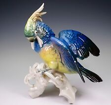 Antique Karl ENS Blue Cockatoo Bird Spread Wings Porcelain Figurine 7337