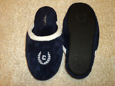 New Chaps C Nvy Blue Plush Micro Terry Cloth Slippers M 6 1/2-7 1/2 gift 6.5-7.5